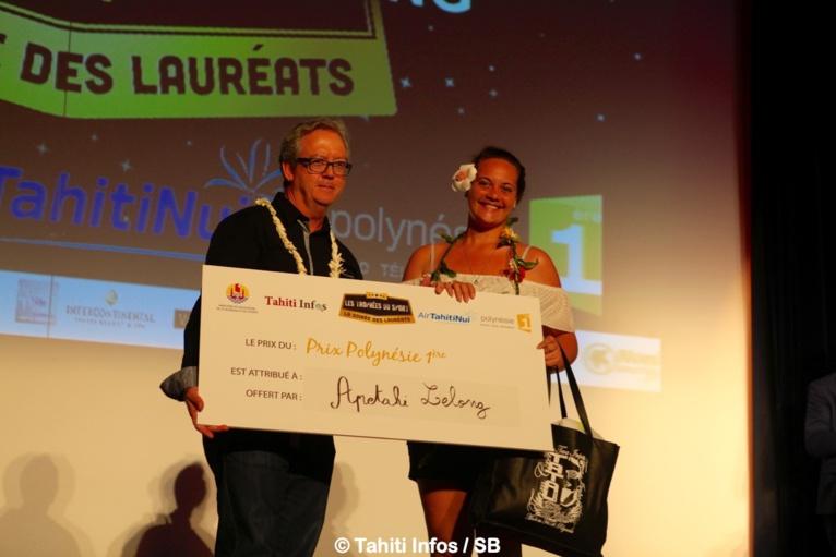 Gérald Prufer, directeur régional de Polynésie 1e avec Apetahi Lelong, gagnante du jeu SMS