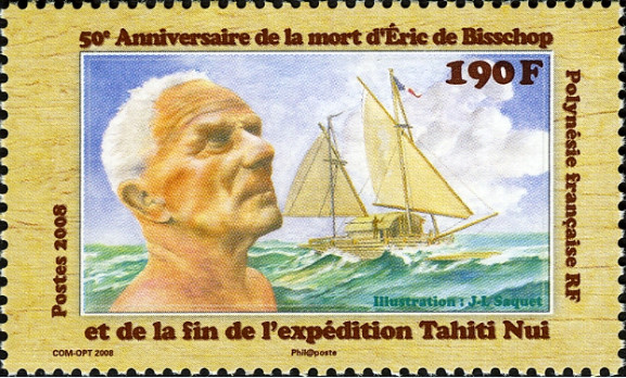 En 2008, pour marquer le cinquantenaire de la disparition de de Bisschop aux îles Cook, l'OPT a émis cette vignette signée Jean-Louis Saquet.