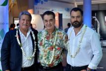 Jean-Christophe Bouissou, Stéphane Chin-Loy (président de la CCISM) et Karl Tefaatau (directeur de la DGEN)