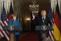 Donald Trump et Angela Merkel à la Maison-Blanche, vendredi midi.  PHOTO SAUL LOEB, AFP