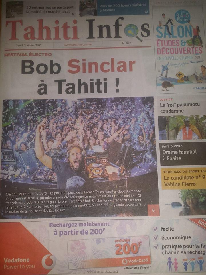 """Bob Sinclar à Tahiti : """"J'arrive avec toute l'énergie de ma musique !"""""""