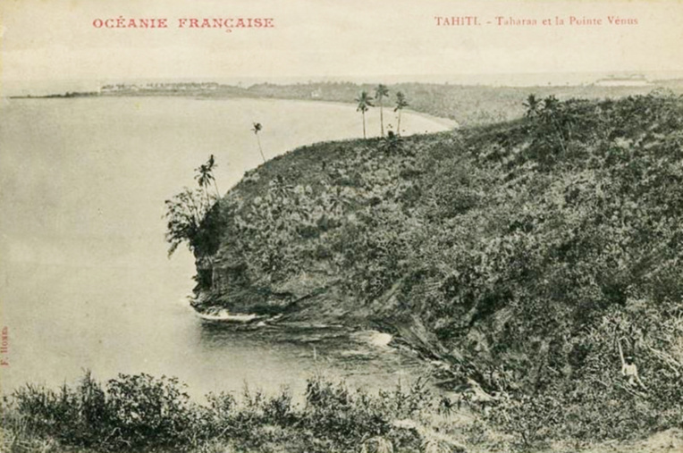 La pointe du Tahara'a en forme de baleine en 1900. Photo Franck Homes.