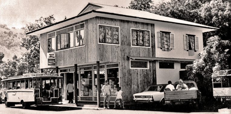 Le magasin Abe de Arue en 1974. Coll. Mairie de Arue