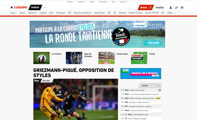 La Ronde Tahitienne communique dans l'édition web de L'Equipe