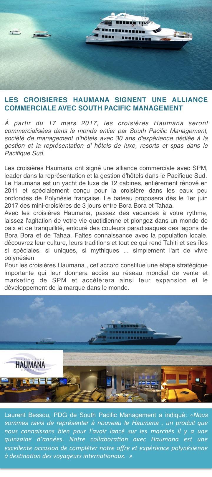 Les croisières Haumana vendues à travers le monde