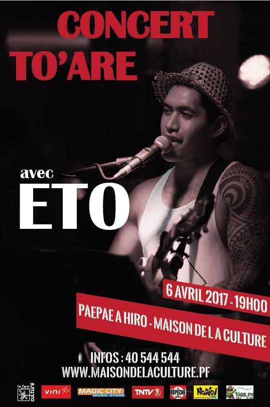Eto, artiste de la nouvelle vague, sera la star du concert To'are