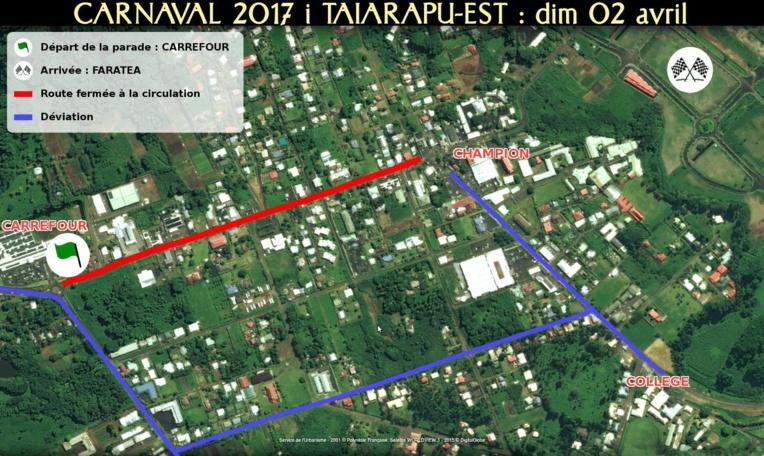 """Durant la parade des chars, la route de ceinture sera fermée entre le rond-point de Carrefour jusqu'à la Banque de Polynésie, de 17 heures à 20 heures. """"Une déviation se fera via la route de chez Loula & Rémy"""", explique l'équipe organisatrice."""