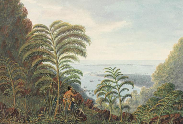 La baie de Matavai vu du col du Tahara'a en 1792. Aquarelle de George Tobin