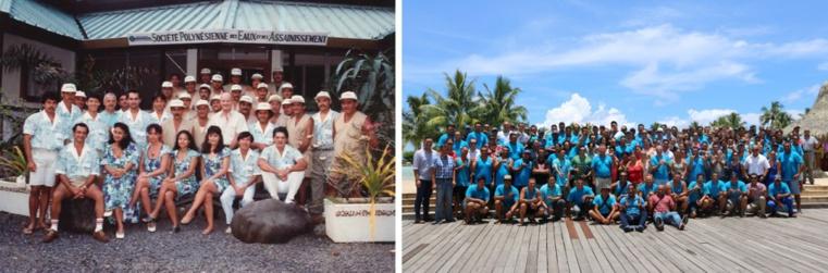 L'équipe de la Polynésienne des Eaux en 1992 puis en 2017