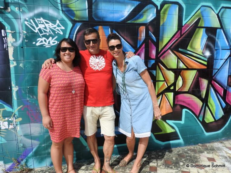 Le comité organisateur avec Alberto Vivian, directeur artistique, Laurence Joutain, directrice des opérations, et Agnès Genefort, responsable des créateurs.