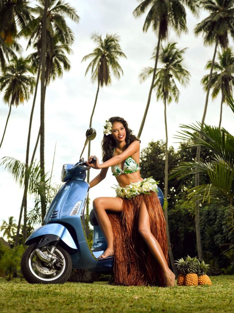 La gagnante de l'édition 2016 a prêté ses traits pour la première campagne tahitienne de promotion de la marque Vespa (photo : Teiki Devendeville).