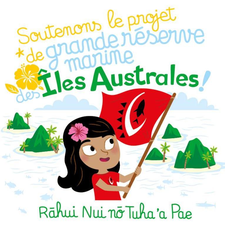 Plusieurs dessins avec des messages de prévention pour sauvegarder les ressources marines aux Australes.