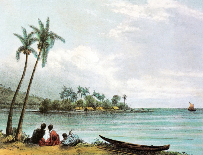 Le petit îlot de Motu Uta, résidence secondaire des Pomare. Peinture de Nicolas Feld.