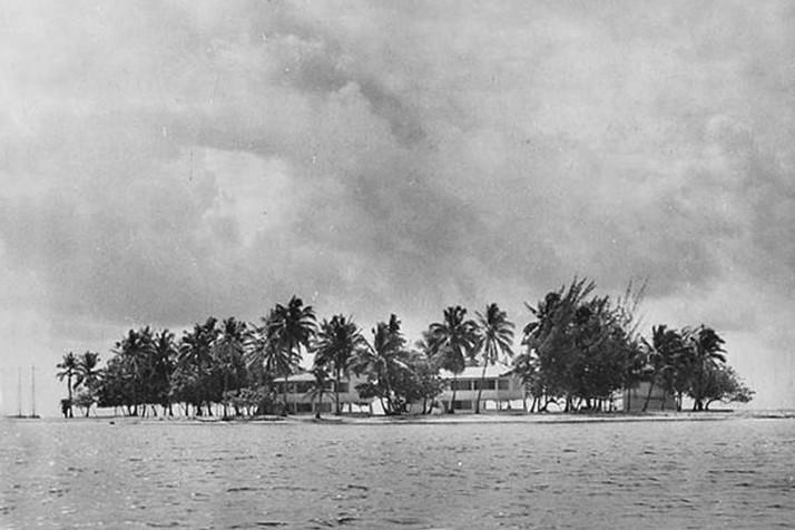 Les constructions sur Motu Uta en 1949