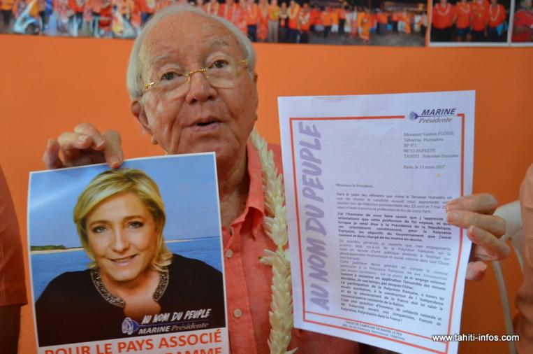 """""""Les comptes sont d'autant plus clairs que nous étions les seuls à soutenir Marine Le Pen"""", a souligné Gaston Flosse mardi, en se félicitant des 37 319 suffrages obtenus par la candidate d'extrême droite samedi en Polynésie française."""