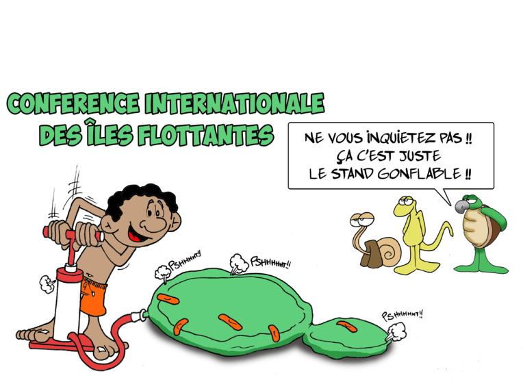 """"""" Les îles flottantes en conférence """" vu par Munoz"""