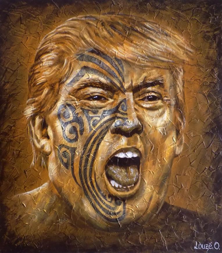 Toujours dans une touche résolument polynésienne, l'artiste dévoile sa vision sur le monde, comme avec ce tableau insolite de Trump.