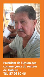 Photo de William Estall : Président de l'Union des commerçants du secteur de Tiahura : joignable au 87 26 30 46
