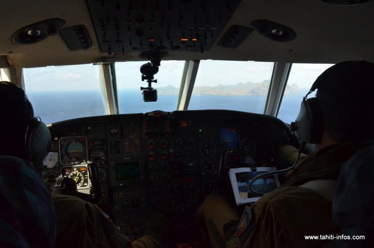 A l'approche de Rapa, après deux heures et demi de vol depuis Tahiti-Faa'a.