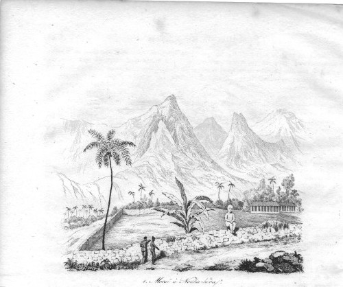 Les îles Marquises, telles que les virent les premiers découvreurs. A noter la taille du tiki assis par rapport à celle des Marquisiens.