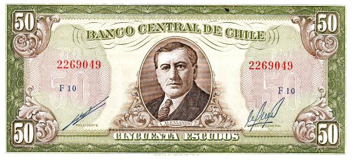 Président respecté au Chili, Arturo Alessandri a même vu son portrait finir sur des billets de banque, au temps de l'escudo chilien (remplacé par le peso en 1975).