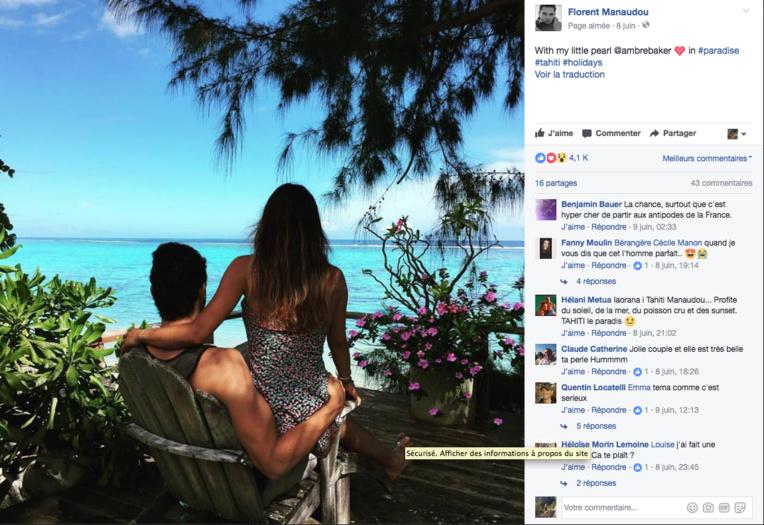 """Florent Manaudou est à Tahiti avec sa """"little pearl"""" Ambre"""