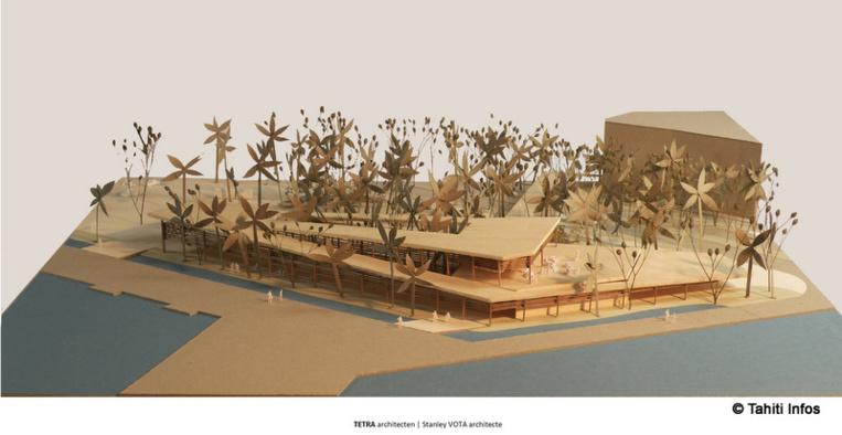 Vu d'architecte du futur bâtiment. On voit qu'il est conçu pour s'intégrer aux futurs espaces verts.