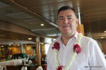 Jean-Pierre Philibert, le président de la Fedom, à bord de l'Aranui V.