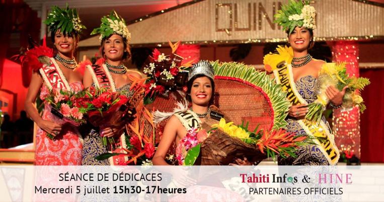 Miss Tahiti 2017 en séance de dédicaces pour Tahiti Infos et Hine magazine