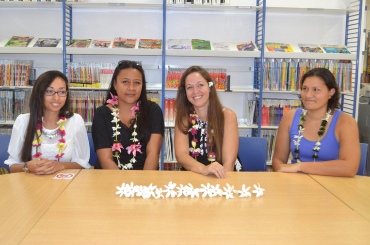 De gauche à droite : Marion, Turami et Vainui, lauréates du CAPES Lettres, et Orianne, lauréate du CAPES Anglais. (Photo service de communication UPF).