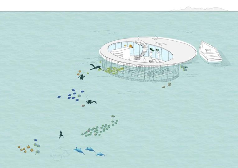 Le salon sous-marin de Tetra : cette structure flottante est équipée de ballasts pour s'immerger une fois tractée à destination.