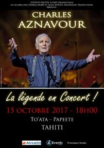 Charles Aznavour, en concert le 15 octobre à Tahiti
