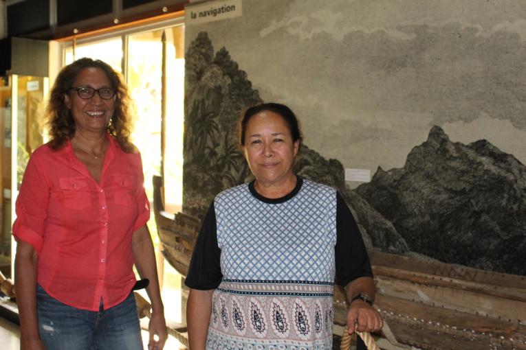 """Vairea Tessier, archéologue, en charge de la documentation au Musée de Tahitie t des îles et Manouche Lehartel, à l'initiative de l'événement """"100 ans de vie commune"""" au Musée."""