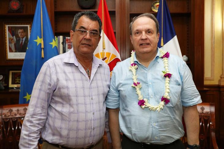 Le président du Civen, Alain Christnacht, lors de sa rencontre avec le Président Edouard Fritch, le 3 avril dernier durant une mission en Polynésie française. (©Présidence de la Polynésie française).