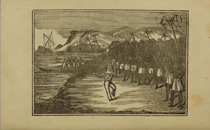 O'Connell débarquant aux îles Carolines (gravure figurant dans la biographie publiée en 1845). On le voit danser sa fameuse gigue, sous le regard de ses cinq autres compagnons d'infortune.