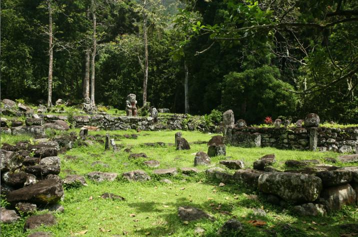 Une vue générale du site, dont désormais toutes les pièces essentielles sont sous protection, donnant à Iipona un aspect de village ancien.