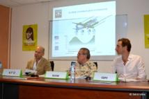 Le directeur de l'AFD Thierry Paulais, le directeur de l'IEOM Claude Periou et le directeur de l'ISPF Julien Breuilh