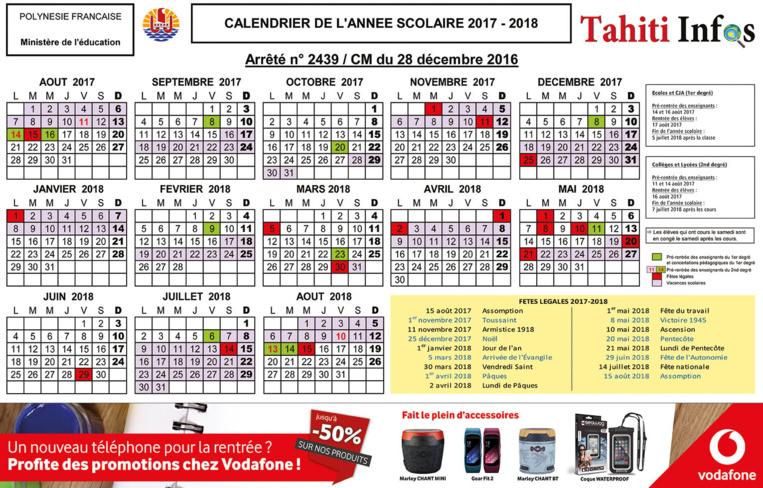 calendrier scolaire a tahiti