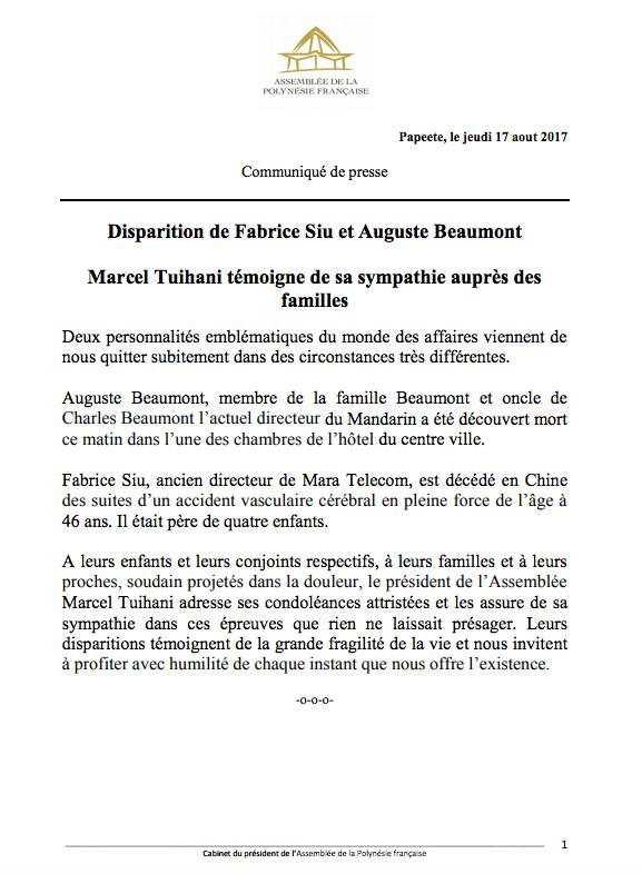 Disparition de Fabrice Siu et Auguste Beaumont: Marcel Tuihani témoigne de sa sympathie auprès des familles