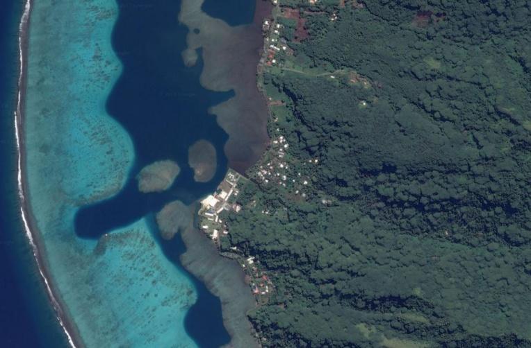 Vue aérienne de l'espace maritime de la commune associée de Tevaitoa.