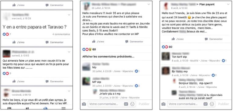 Les échanges entre membres de certains des groupes de libertinage formés sur Facebook.