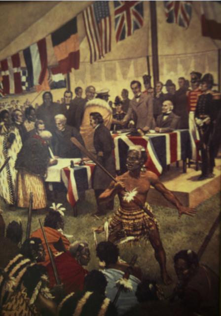 A l'intérieur du musée, une peinture représente la signature du document.