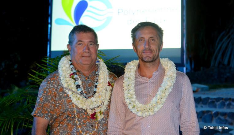 Stéphane Martin dit Neuville (à gauche), directeur général de la Polynésienne des Eaux, repart pour Paris et sera remplacé par Benoît Burguin (à droite) dès le 30 août.
