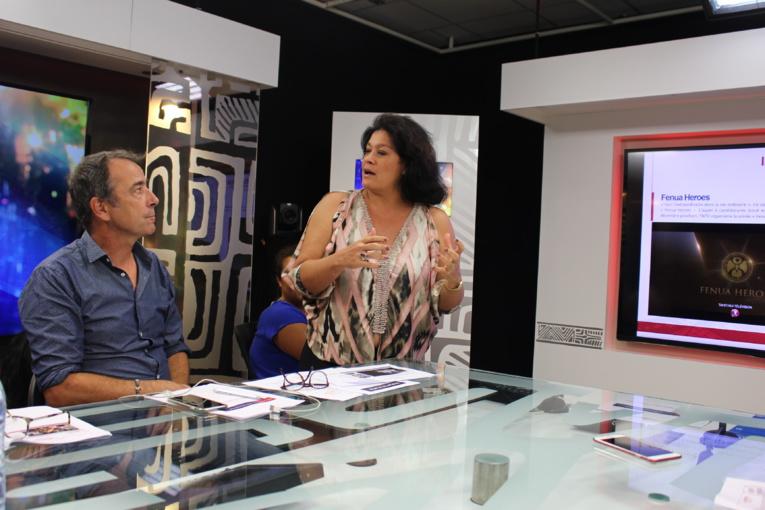 Bertrand Parent, rédacteur en chef de TNTV et Mateata Maamaatuaiahutapu directrice générale ont présenté les nouveautés.