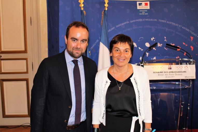 Le secrétaire d'État Sébastien Lecornu, ici à côté d'Annick Girardin, ministre des Outre-mer, arrive en Polynésie aujourd'hui.