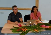 François Briant, créateur du réseau biomimétisme, et Lina Huan, de Tahiti Faahotu