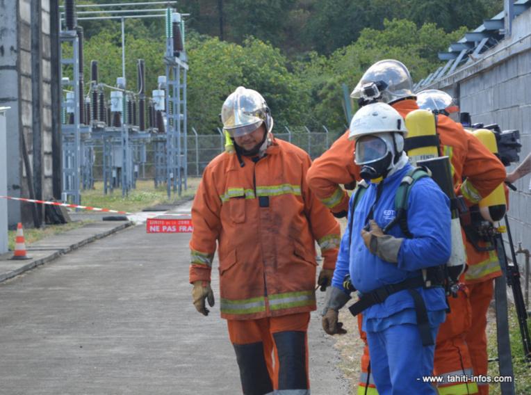 Exercice incendie au poste électrique haute tension de Tipaerui, mardi