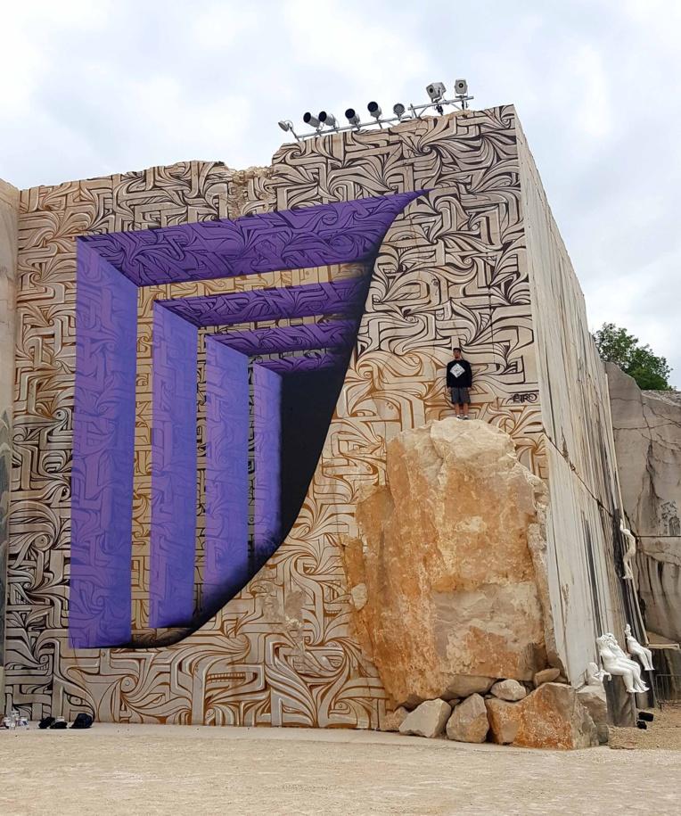 Présent cette année, Astro réalise des murs vertigineux avec des effets 3D.