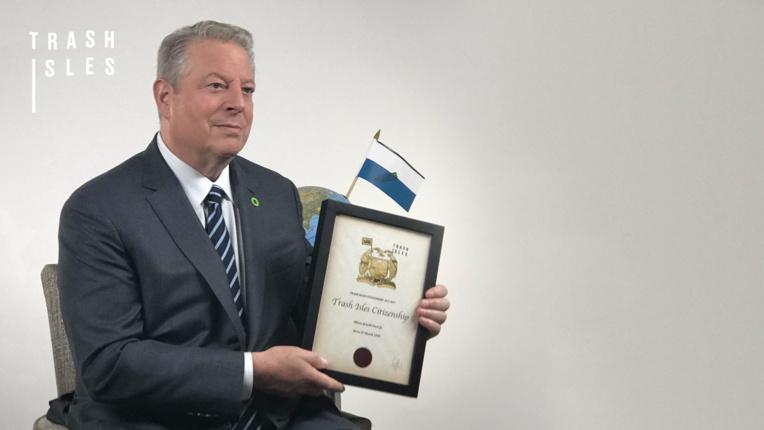 """Le premier citoyen de ce pays est l'ancien vice-président américain Al Gore. Il prête son """"image"""" à la campagne."""