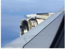 """Des témoins racontent que le moteur aurait littéralement """"explosé au dessus de l'océan atlantique"""". Les photos postées sur les réseaux sociaux sont impressionnantes"""